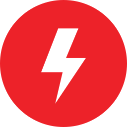 Red Circle with Lightning Bolt in the Middle