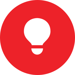 Red Circle with Lightbulb in the Middle